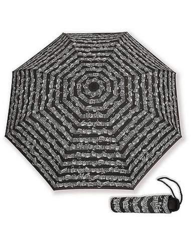 Parapluie noir motif notes de musique